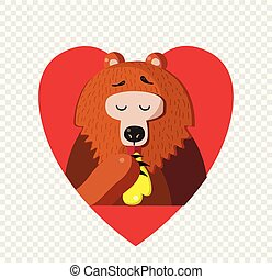 Cute cartoon bear eating honey inside of red heart on transparent background.