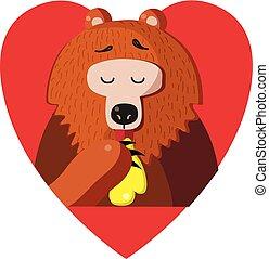 Cute cartoon bear eating honey inside of red heart on white background.