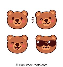Cute cartoon bear face set