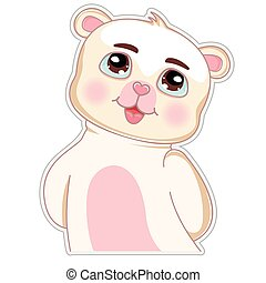 Cute cartoon bear. Greeting card with charming teddy isolated on a white background.