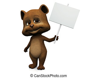 Cute cartoon bear holding blank sign.