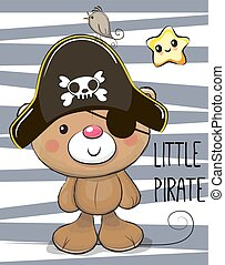 Cute cartoon Bear in a pirate hat