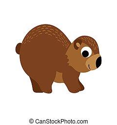 Cute cartoon bear isolated on white background