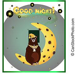 cute cartoon bear on the moon and inscription good night .