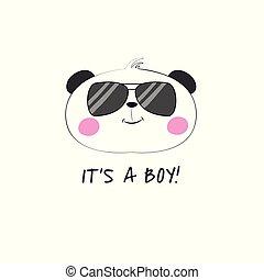 Cute cartoon bear panda in glasses and inscription its a boy.