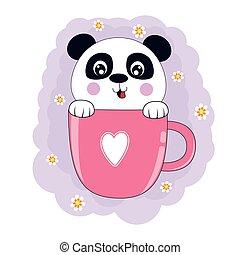 Cute cartoon bear panda in pink coffee cup.
