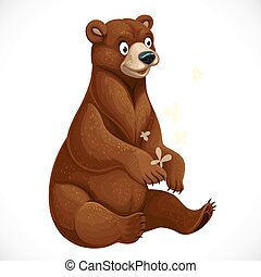 Cute cartoon bear playing with yellow moths sit on white background