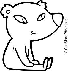 cute cartoon bear sitting