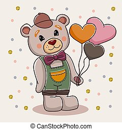 Cute cartoon bear standing with heart shaped balloons. Hand drawn digital art illustration of animal. Baby bear vector illustration.