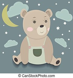 Cute cartoon bear surrounded by stars, clouds and moon.
