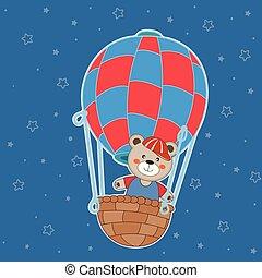 Cute cartoon bear teddy balloon ride. Greeting card.