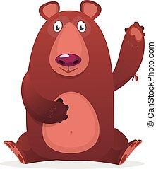 Cute cartoon bear. Vector illustration of a bear waving hand. Isolated on white