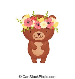 Cute cartoon bear. Vector illustration on white background.