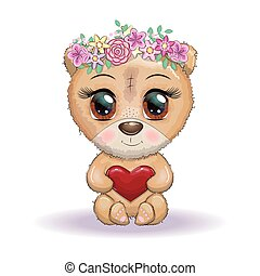 Cute cartoon bear with big eyes and holding a heart, in a wreath of flowers.