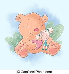 Cute cartoon bear with girl best friends. Watercolor illustration