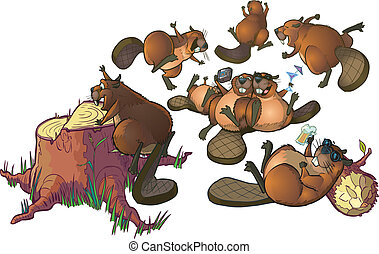 Cute Cartoon Beavers Party Clip Art - Vector Cartoon Clip...