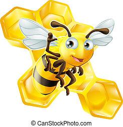 Cute Cartoon Bee and Honeycomb