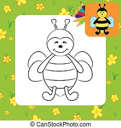 Cute cartoon bee. Coloring page