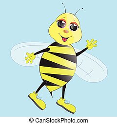 cute cartoon bee vector illustration
