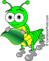 Vector illustration of a cute cartoon big eyed caterpillar holding a leaf. This eps file is AI8 compatible.