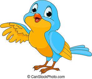 Cartoon illustration of a cute talking bird