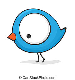 Cute cartoon bird - Cute and funny cartoon bird with huge...