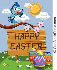Cute Cartoon Bird on the branch wishing happy Easter meadow