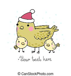 Cute cartoon Bird with chicks in the hat.