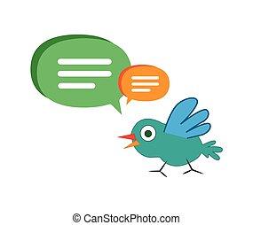 Cute Cartoon Bird with Speech Bubbles