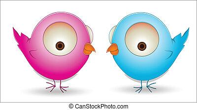 Cute Cartoon Birds Couple