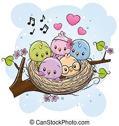 Cartoon Birds in a nest on a branch