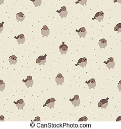 Cute cartoon birds sparrow seamless pattern