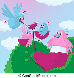 Cute cartoon birds with an expanding family