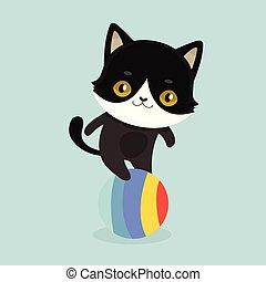 Cute cartoon black cat with big eyes.