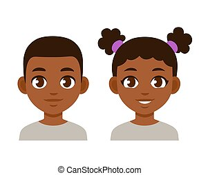 Cute cartoon black children