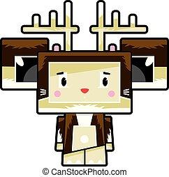 Cute Cartoon Block Reindeer Character