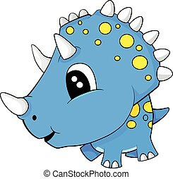 Cute Cartoon Blue Baby Triceratops Dinosaur
