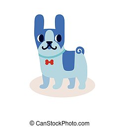 Cute cartoon blue bulldog with a bow isolated on white background. Simple modern flat style vector illustration.