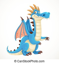Cute cartoon blue dragon isolated on a white background