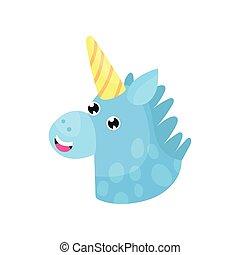 Cute cartoon blue magic unicorn head vector Illustration...