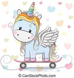 Cute Cartoon Blue Unicorn