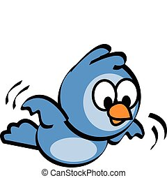 Cute cartoon bluebird flying with wings flapping.