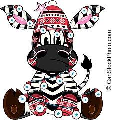 Cute Cartoon Bobble Hat Zebra
