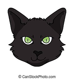 Cute cartoon Bombay cat face vector clipart. Pedigree kitty breed for cat lovers. Purebred black domestic kitten for pet parlor illustration mascot. Isolated feline housecat.