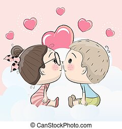 Cute Cartoon boy and girl are kissing on a cloud