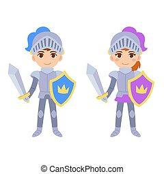 Cute cartoon boy and girl knight