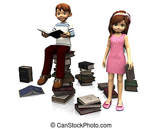 Cute cartoon boy and girl surrounded by books.