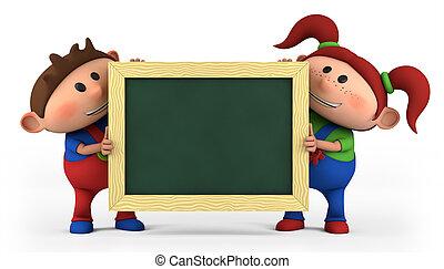 boy and girl with blackboard - cute cartoon boy and girl...