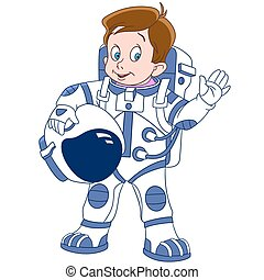 cute cartoon boy astronaut
