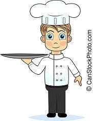 cute cartoon boy chef holding a tra